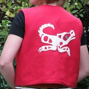 Handmade First Nations Unisex Fleece Totem Vest